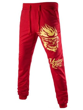Monkey Printed Men's Lace-Up Casual Pants
