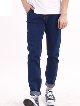 Plain Loose Fit Men's Zipper Jeans