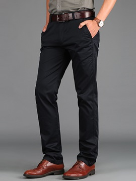 Zipper Pure Color Men's Causal Straight Pants