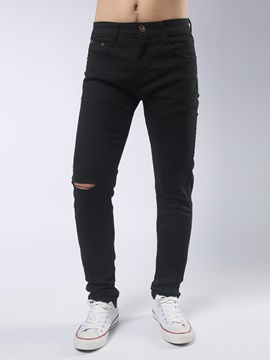 Mid-Waist Worn Plain Men's Jeans