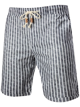 Knee Length Lace-up Stripe Men's Shorts
