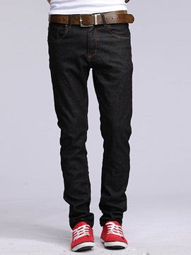 Worn Casual Slim Mid-Waist Men's Jeans