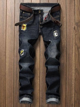 Holes Personality Straight Cylinder Men's Jeans