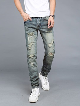 Holes Straight Loose Denim Men's Jeans