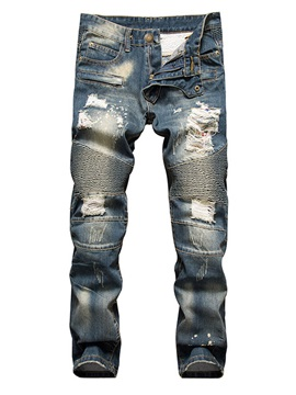 Holes Straight Loose Nostalgia Men's Jean