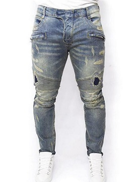Mid-Waist Worn Hole Thin Straight Denim Men's Jeans