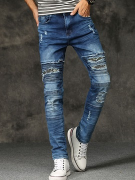 Mid-Waist Worn Hole Slim Denim Men's Pants