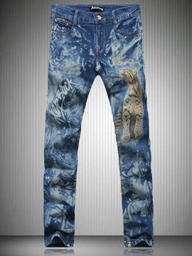 Tidebuy Mid-Length Zipper Skinny Men's Denim Pants