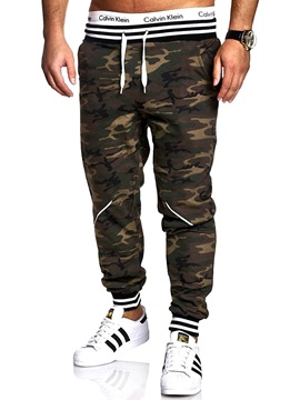 Tidebuy Camouflage Print Lace-Up Men's Casual Pants