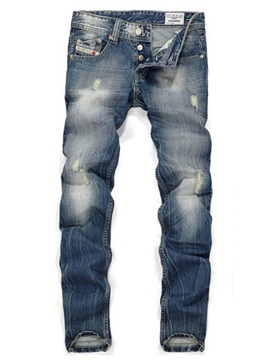 Tidebuy Worn Hole Men's Jeans with Button