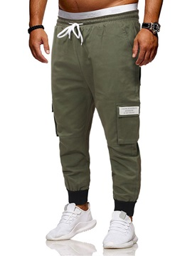 Plain Lace-Up Pocket Men's Casual Pants