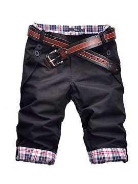 Straight Color Block Button Korean Men's Jeans