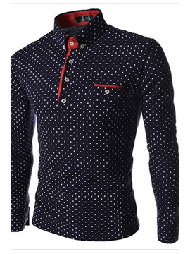 Spread Collar Single-Breasted Polka Dots Men's Shirt
