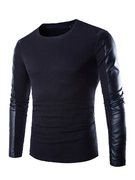Round Neck PU  Long Sleeve T-Shirt