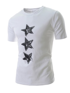Star Print Round Neck T-Shirt