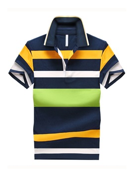Striped Contrast Color Men's Polo