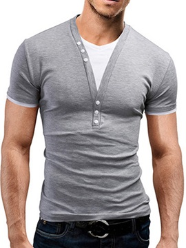 Stretch Solid Color Men's Buttons Placket Tee