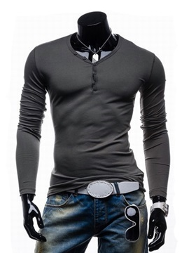 Casual Slim-Fit V-neck Men Polo