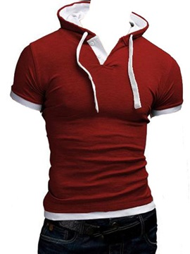 Slim Fit Drawstring Short Sleeve Men T-shirt