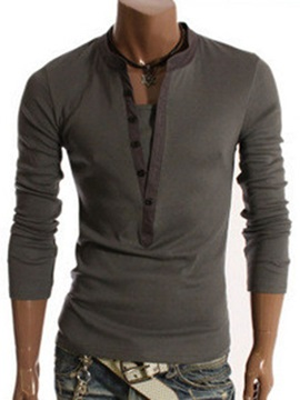 Long Sleeve Double-Layer V-neck Two-tone Men's Shirts