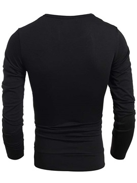 Three Colors Split Joint Crew Neck Men's Long Sleeve T-shirt