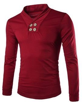 Solid Color V-Neck Buttons Decorated Men's Long Sleeve Tee