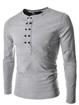 Solid Color Double Half Buttons Decorated Men's Tee