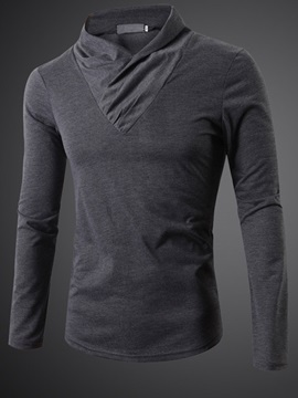 Collar Folds Solid Color Men's Long Sleeve Tee