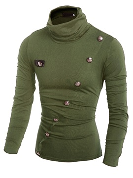 High Collar Oblique Buttons Decorated Men's Tee