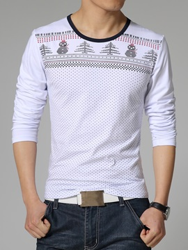 Dots Snowman Design Men's Slim Fit Tee