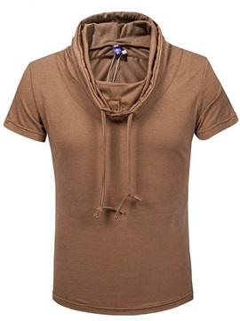 Solid Color Lace Up Heap Collar Men's Tee
