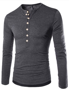 Half Buttons Up Color Block Men's Crew Neck Polo