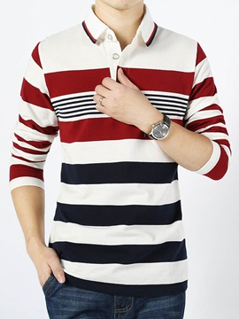 Colorful Stripe Design Lapel Men's Tee