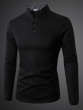 Three Buttons Stand Collar Men's Plain Polo