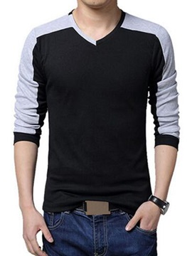 Contrast Color V-Neck Men's Cotton Blend Tee