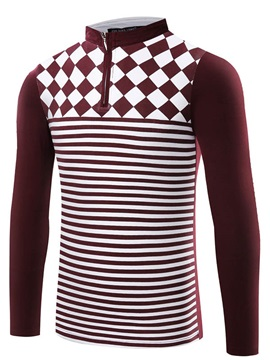 Rhombus Stripe Printed Zip Design Men's Polo