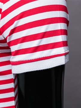 Stripe Printed Short Sleeve Buttons Design Men's Polo