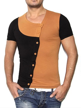 Color Block Single-Breasted Short Sleeve Men's Tee