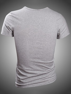 Solid Color V-Neck Slim Fit Men's Tee