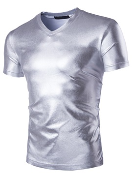 V-Neck Solid Color Short Sleeve Men's Shiny Tee