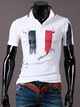 Printing Design Short Sleeve Men's Lapel Polo