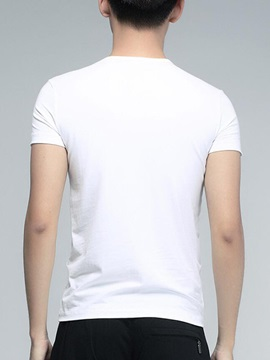 Letter Printed Crew Neck Men's Short Sleeve Tee