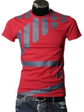 Color Block Stripe Patched Short Sleeve Men's Tee