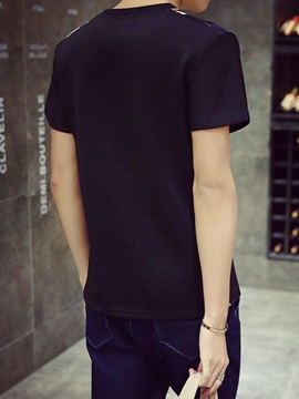 Floral Printed Patched Short Sleeve Men's Tee