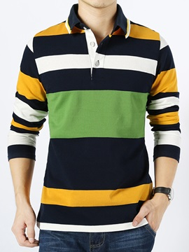 Colorful Wide Stripe Decorated Men's Tee