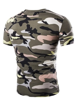 Camouflage Printed V-Neck Men's Tee