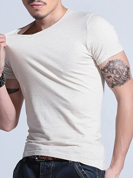 V-Neck Short Sleeve Men's Plain Tee