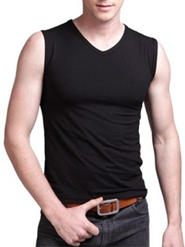 Solid Color Slim Fit Men's Sleeveless Tee