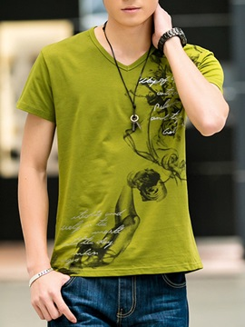 Wash Painting V-Neck Men's Short Sleeve Tee