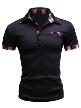 Multi-Color Plaid Short Sleeve Men's Polo
